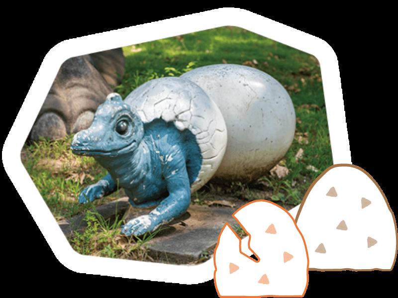 卵からかえったばかりの赤ちゃん恐竜